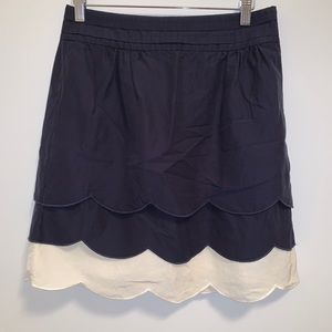 Anthropologie Floreat Navy Scallop Could Skirt-2